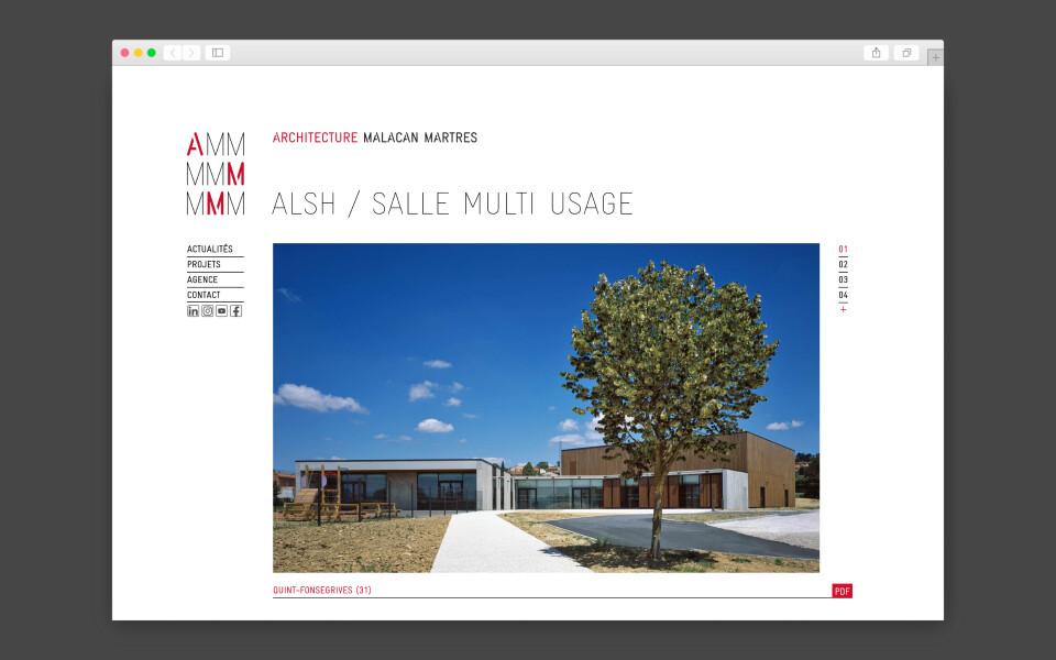 Site internet et système d'édition automatisée pour AMM Architecture