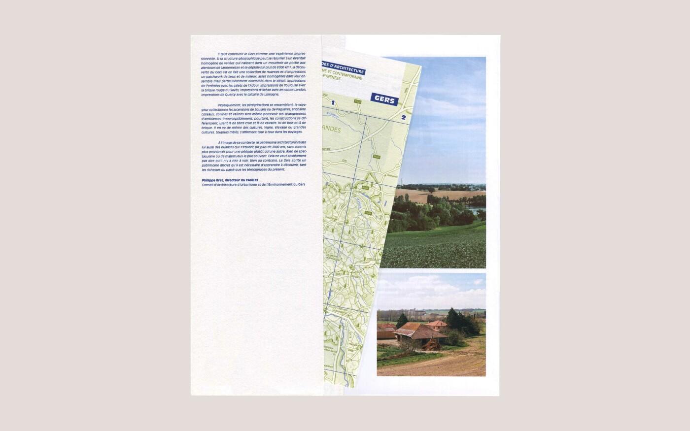 Mise en livre d'un guide de balades d'architecture dans le Gers