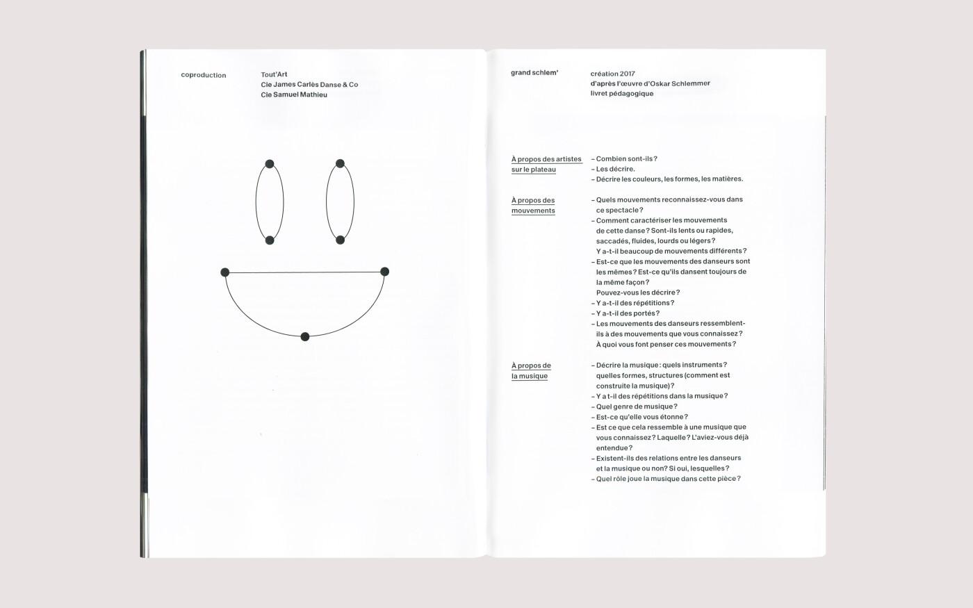 Mise en page d'un livret pédagogique pour un spectacle de danse