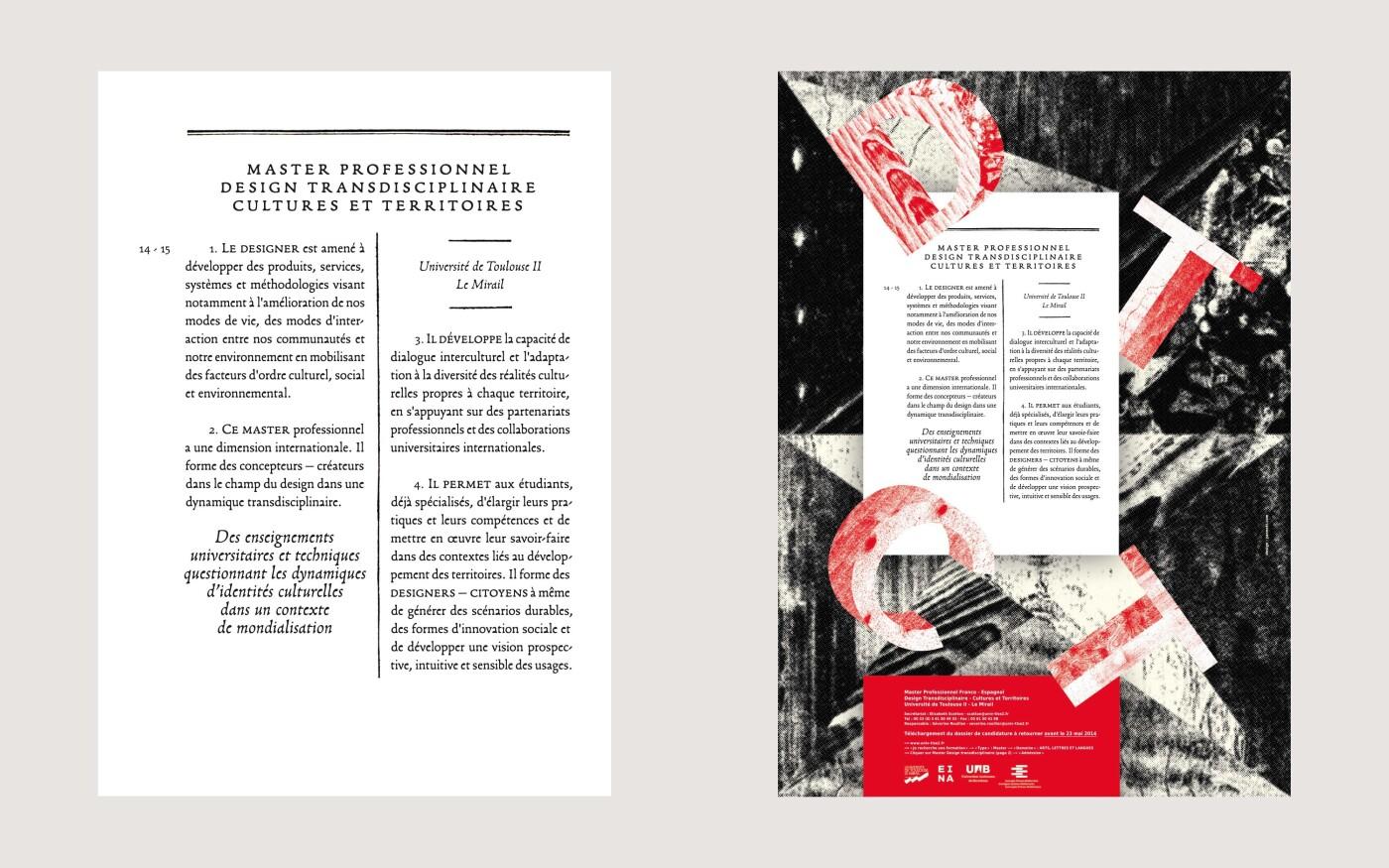 Affiche du Master Design Transdisciplinaire, Cultures et Territoires