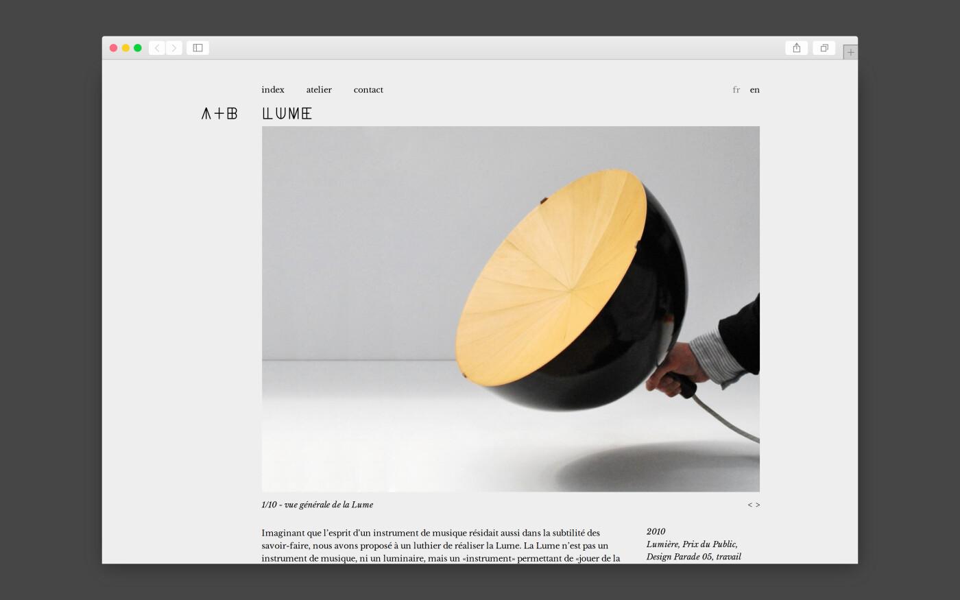 Site internet de A+B, designers