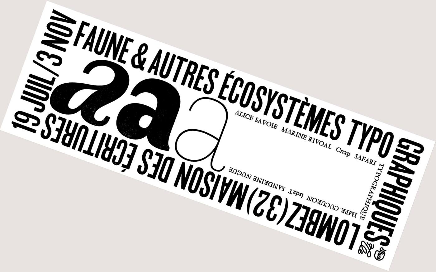 Affiche pour l'exposition Faune et autres écosystèmes typographiques